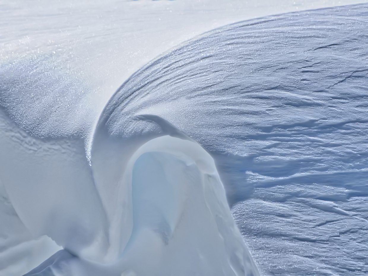 Snow freezes in the shape of a wave atop Storm Peak at Steamboat Resort.