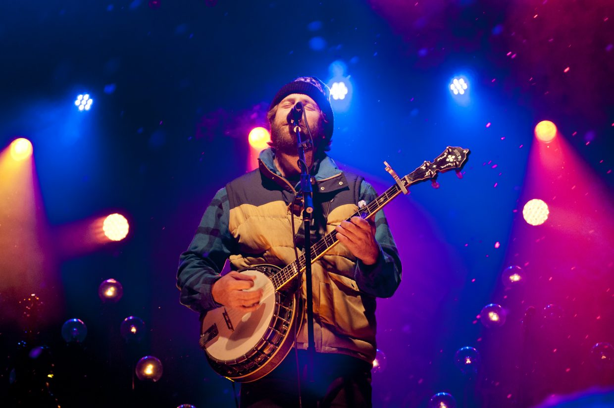 Dave Carroll, banjo player of Trampled by Turtles, played main stage at WinterWonderGrass in Steamboat Springs on Saturday.