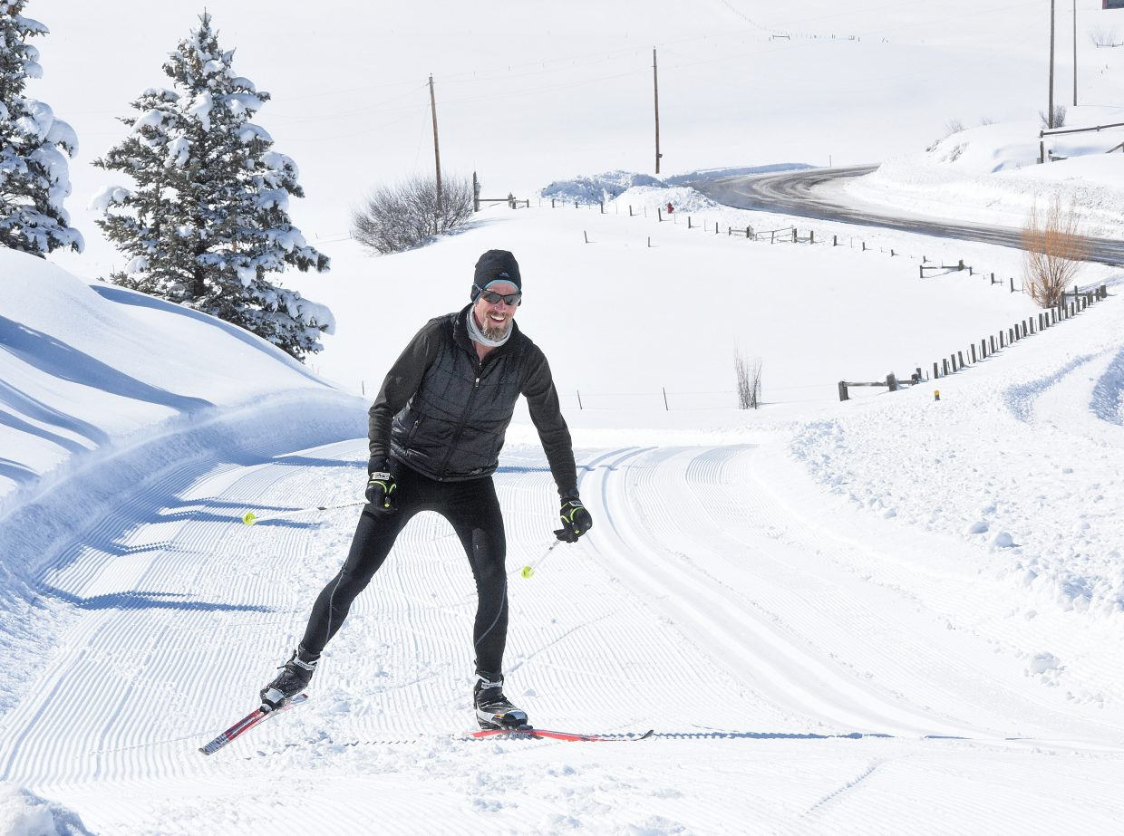 Cross-country skier Matt Lundy makes his way around the Steamboat II Metropolitan DistrictÕs Nordic trails Monday afternoon. Lundy said last weekendÕs snow, combined with Monday's blue sky made for a great day of skiing.