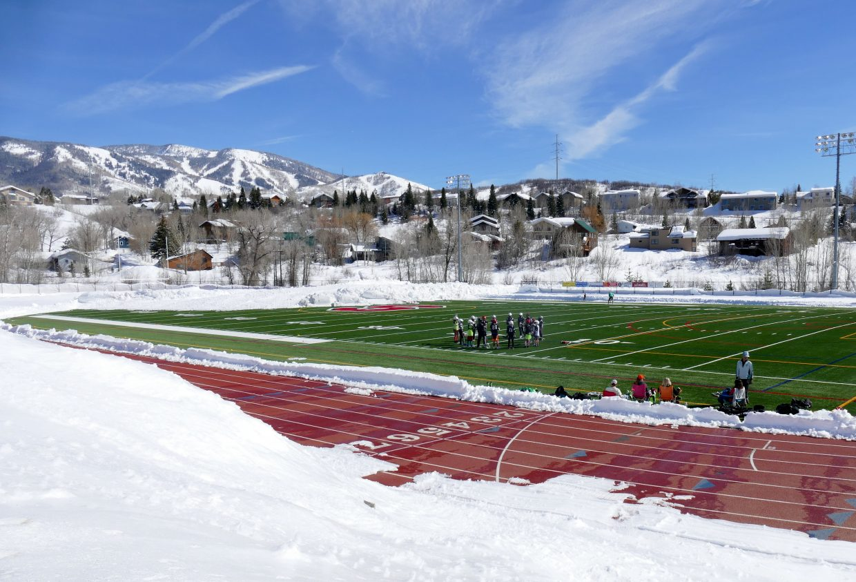 Gardner Field at Steamboat Springs High School sees the sun and less of the snow.