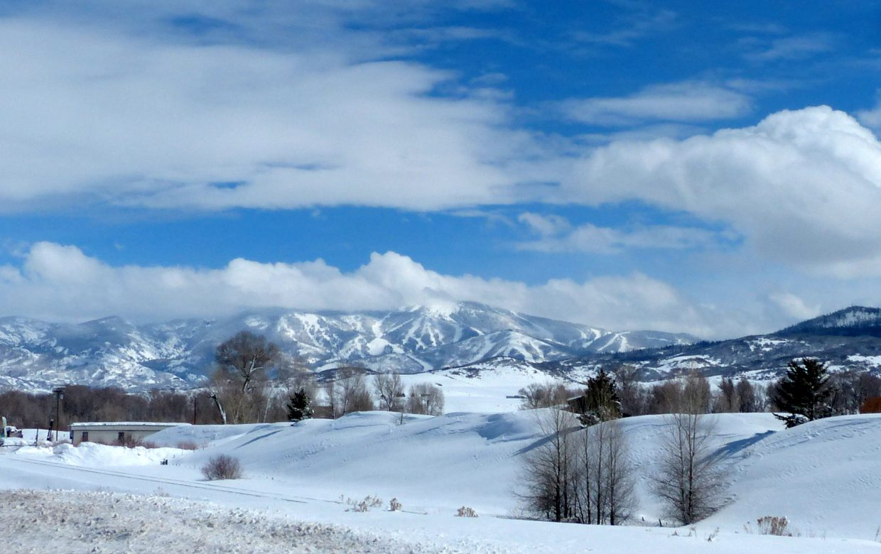 The slopes of Steamboat, taken earlier this afternoon, driving into town from the west on Hwy 40.