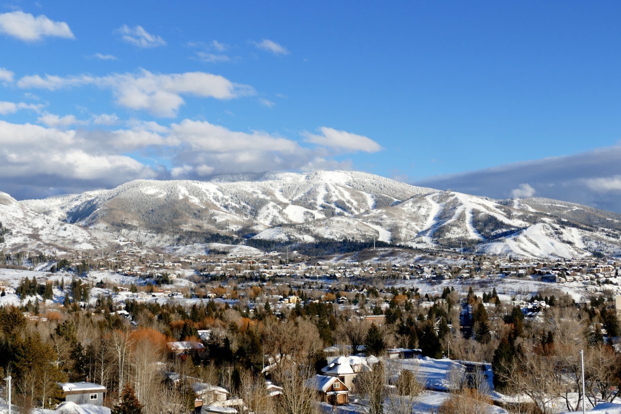 Views of Mount Werner and downtown Steamboat Springs from Colorado Mountain College.