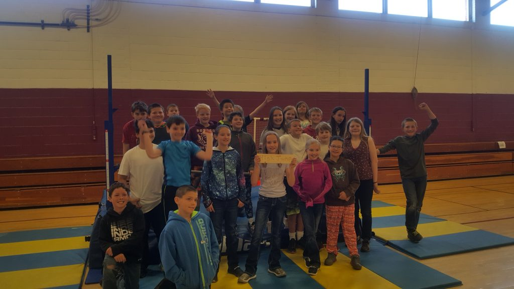Lyla Raffay, the South Routt Elementary School high jump contest winner, is pictured with her fifth grade class.
