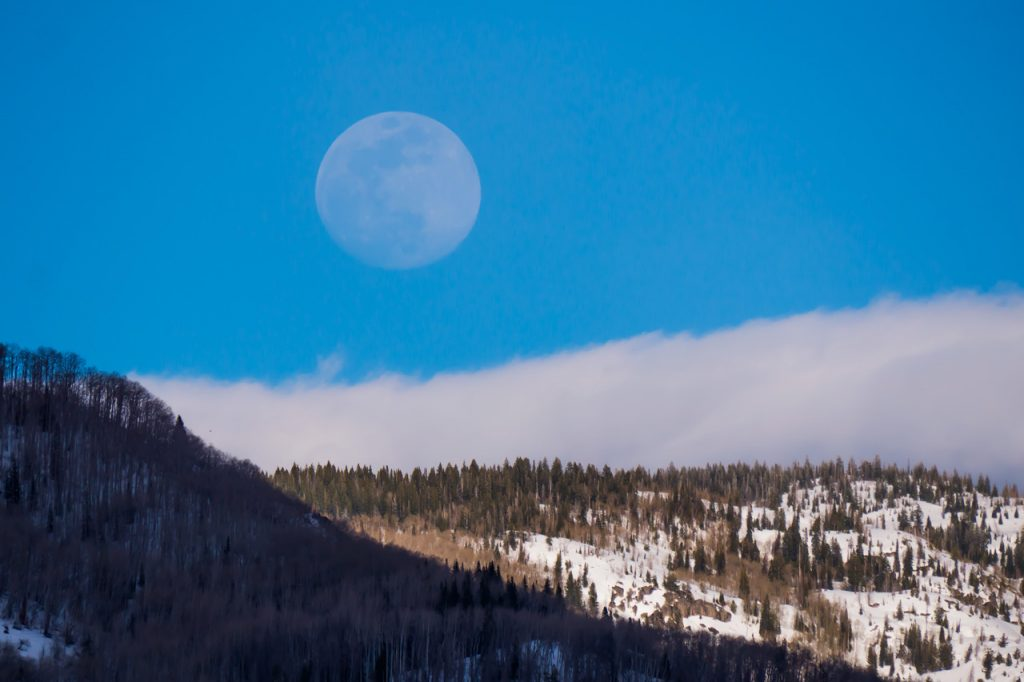 A full moon rises over Steamboat Springs on Wednesday, April 17.