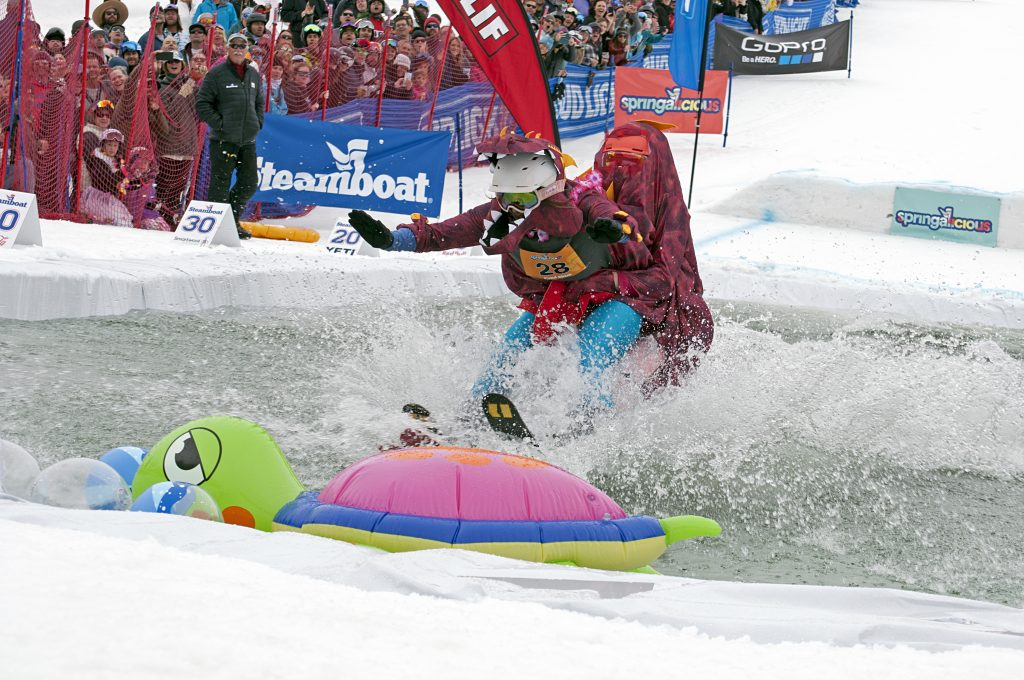 PHOTOS and VIDEO: Dinosaurs, tutus and more make a splash at Steamboat Pond Skim