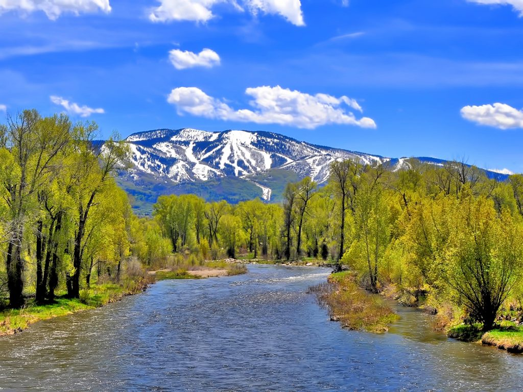Green leaves begin to surround the Yampa River in downtown Steamboat Springs.