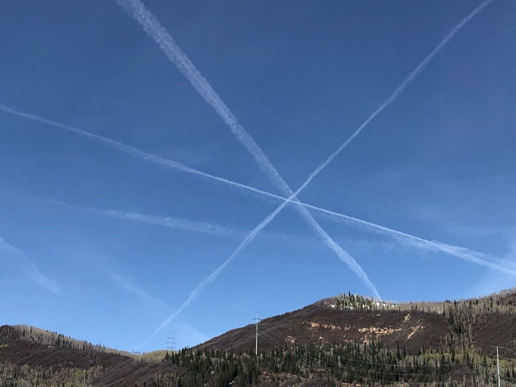 Lines of clouds form an asterisk over Tree Haus subdivision in Steamboat Springs.
