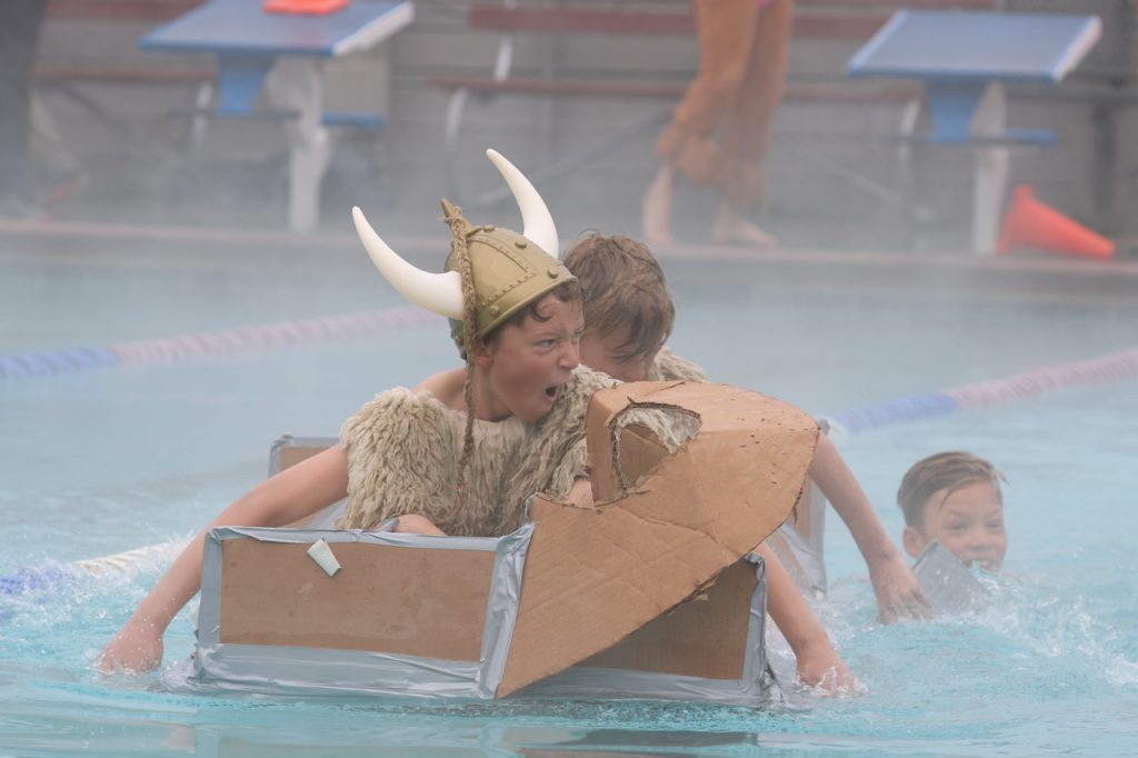 Fifth graders compete in the fifth grade cardboard classic at Old Town Hot Springs.