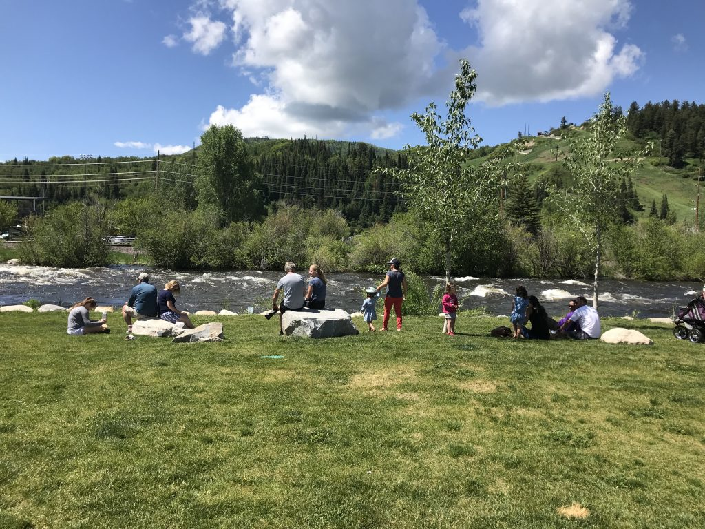 Families by the Yampa River.