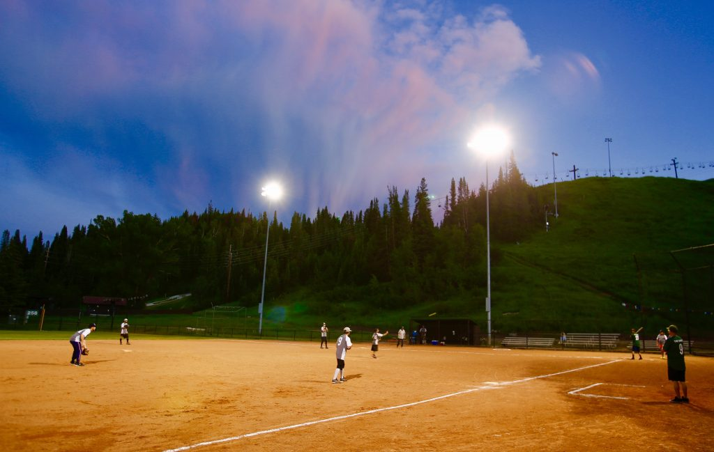 Baseball takes place under the night lights.