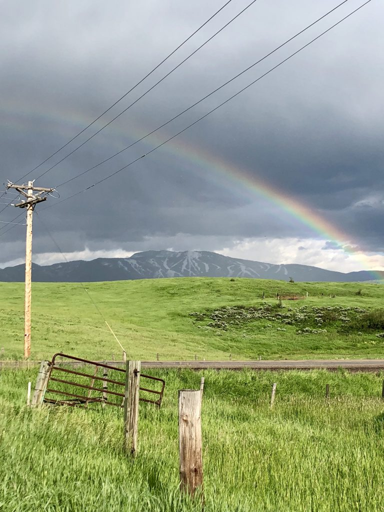 A rainbow appears after storms swept through Steamboat Springs in Sunday.