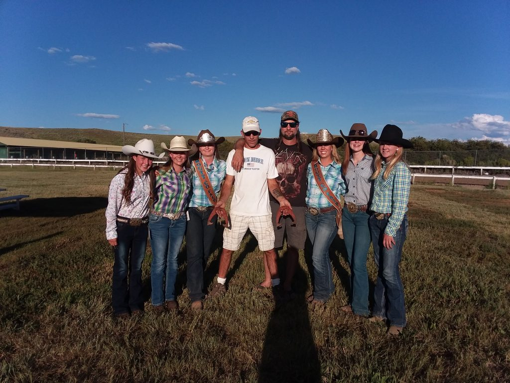 Participants in the Routt County Fair horseshoe pitching contest, from left, are Morgan Yeiser,  Leah Allen, Camryn Dines, Phil Hoth, Gary Gerber, Bailey Iacovetto,  Grace Eck, and Alivia Warren. Winners Phil Hoth and Gary Gerber both of Moffat County donated all the winnings back to the program and all proceeds benefitted the royalty scholarship fund.