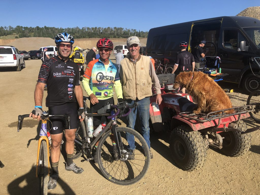 Jay Fetcher right, Bruce Hottman left, Chris Richmond middle, taken at the Fetcher Ranch on the gravel ride.