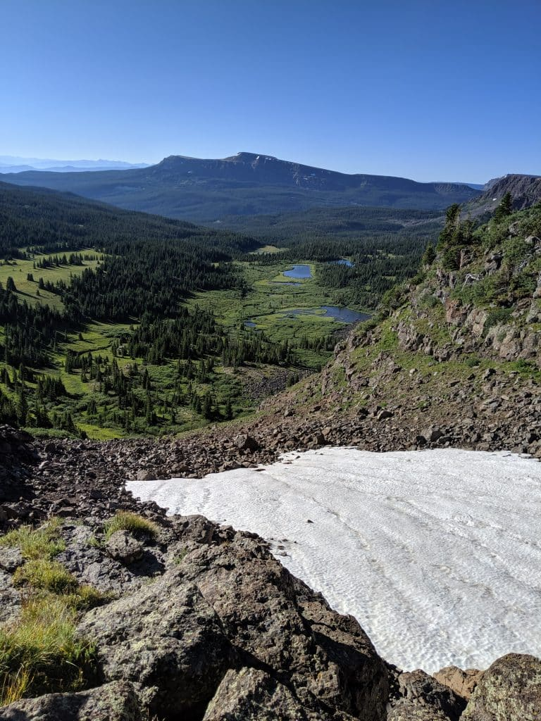 Snow still coats pieces of Mandel Pass in the Flat Tops Wilderness Area.
