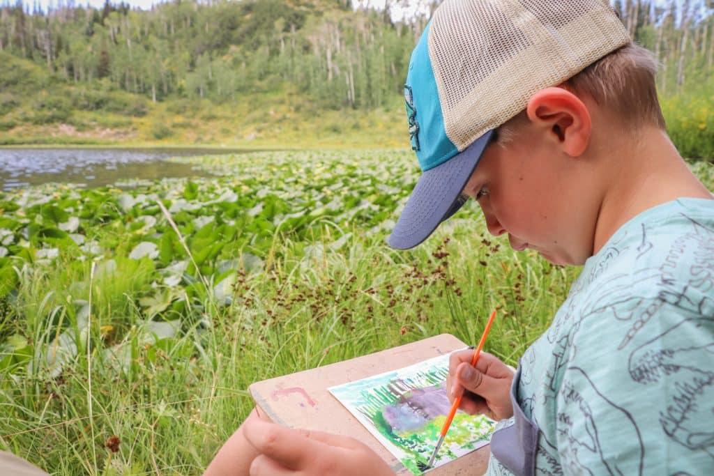 axton Wilson Age 6 En plein air painting at Hinman Creek Trail for his first day of Emerald Mountain School