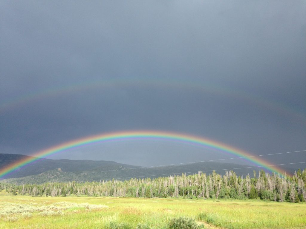 A rainbow in South Routt highlights all the greenness of summer.