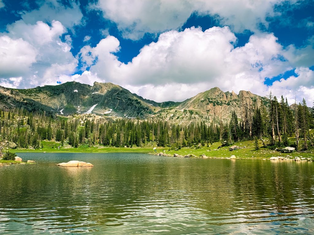 Summer shines brightly on Mica Lake in the Mount Zirkel Wilderness Area.