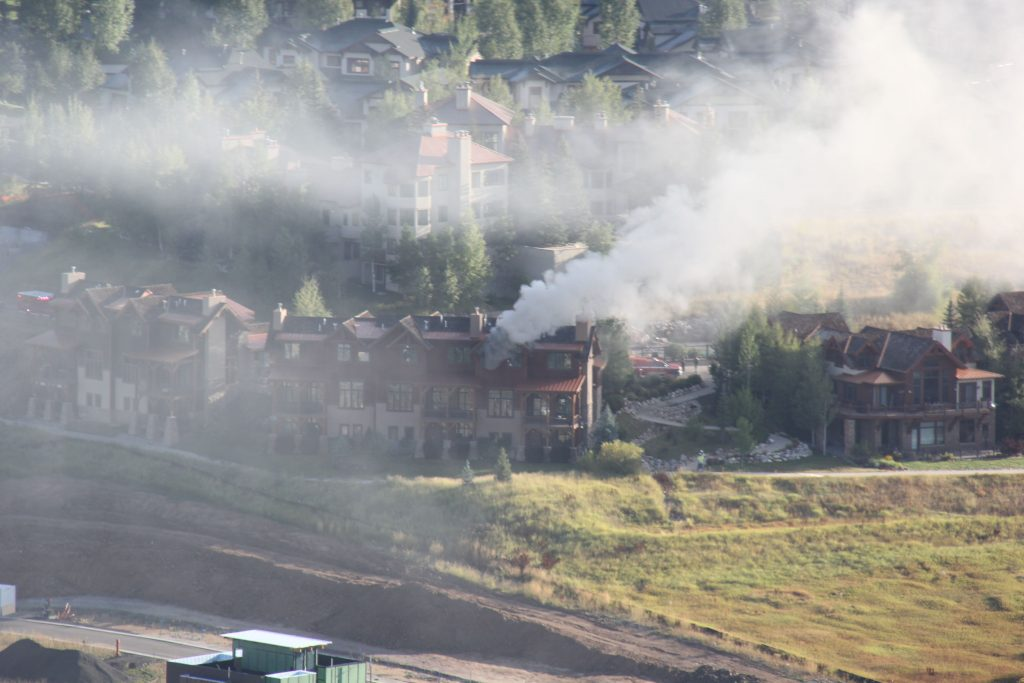 Smoke billows from a Steamboat Springs triplex that caught fire Wednesday, Sept. 18.