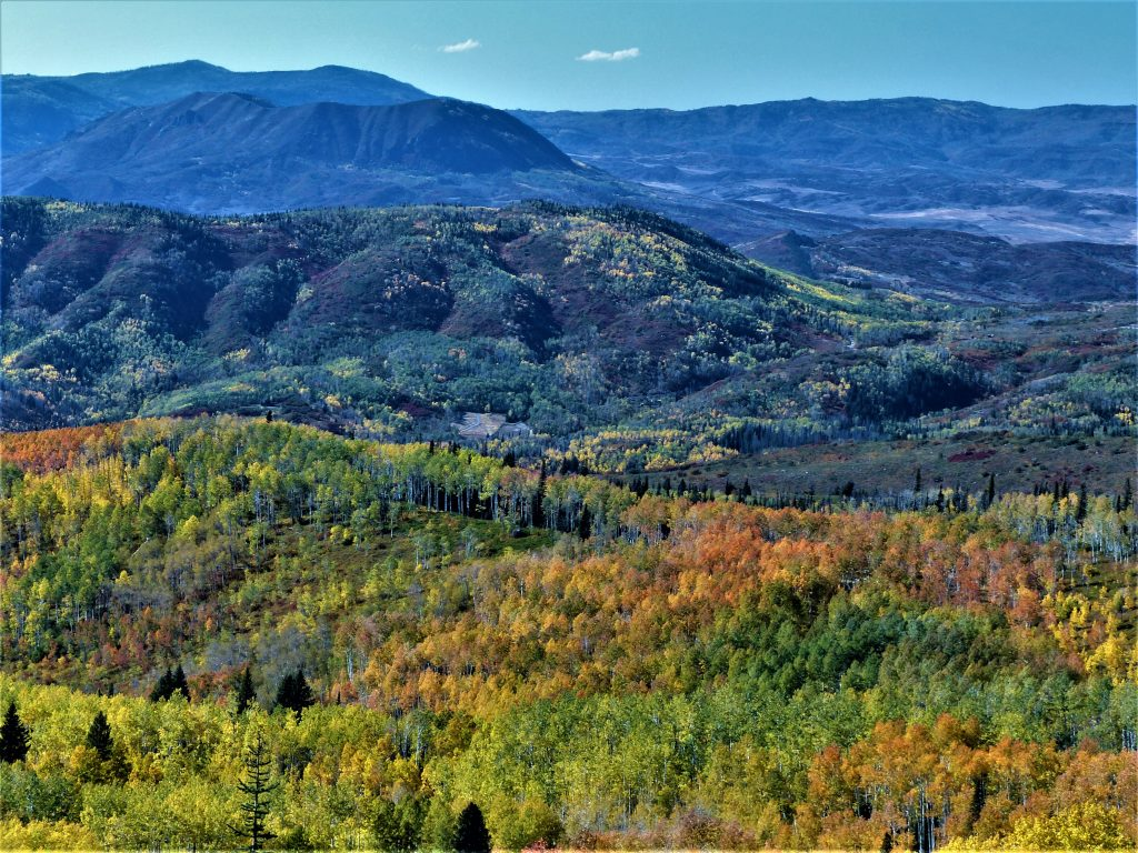 Fall colors explode across the Yampa Valley as seen from Buffalo Pass.
