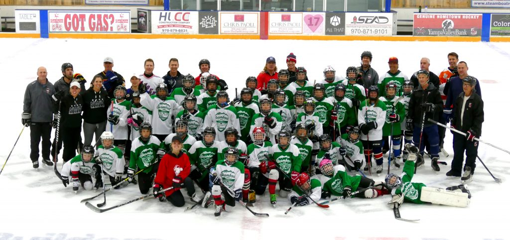 Here is the group shot from tonight's practice for the kids to kick off the Steamboat Hockey Classic. The puck drops at 7 p.m. Friday night at Howelsen Ice Arena.