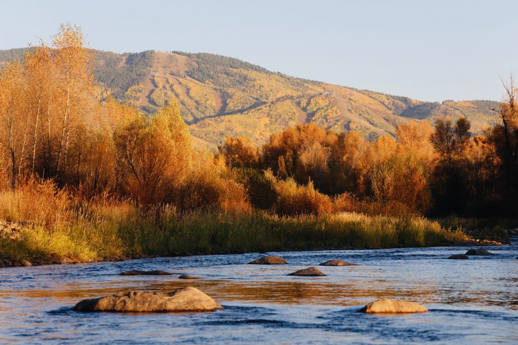 Another Blue Bird Autumn Day. Yampa River with Steamboat Ski Resort in background.