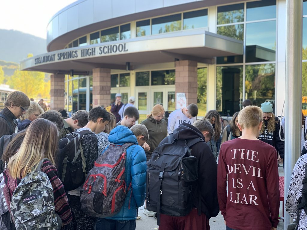 Steamboat Springs High School students participate in See You at the Pole.