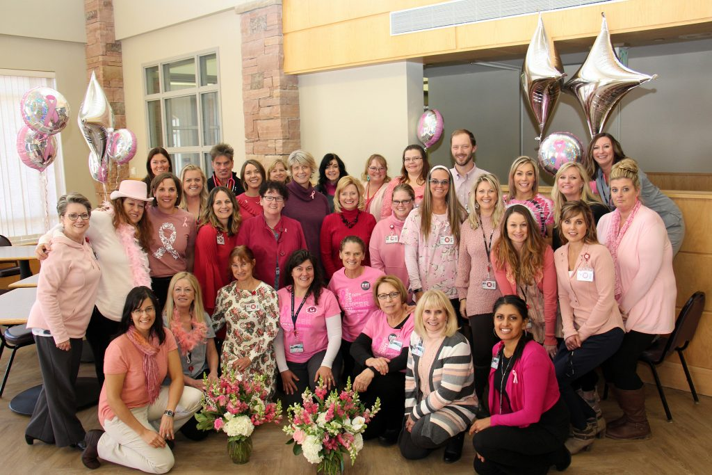 "Physicians and staff at UCHealth Yampa Valley Medical Center celebrate the end of breast cancer awareness month with ""Think Pink"" day in support of the Bust of Steamboat's month-long Paint the Town Pink campaign."