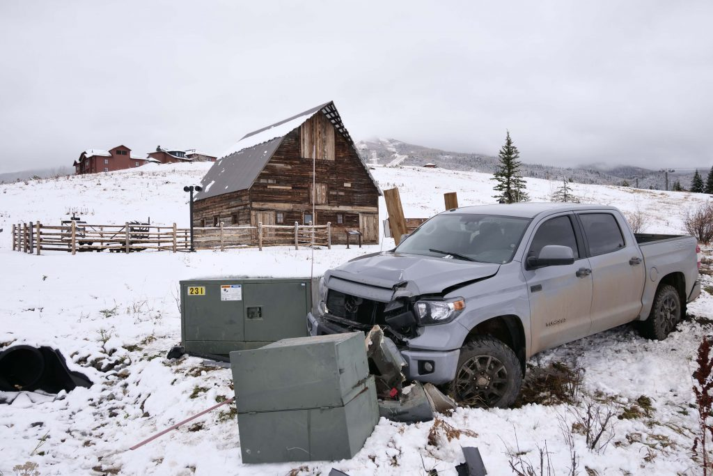 A truck crashes near the Arnold Barn at Steamboat Resort.
