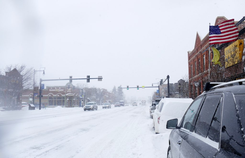 Snowy downtown Steamboat Springs.