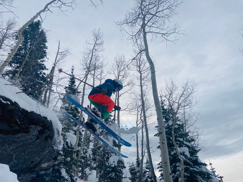 A skier catches air.