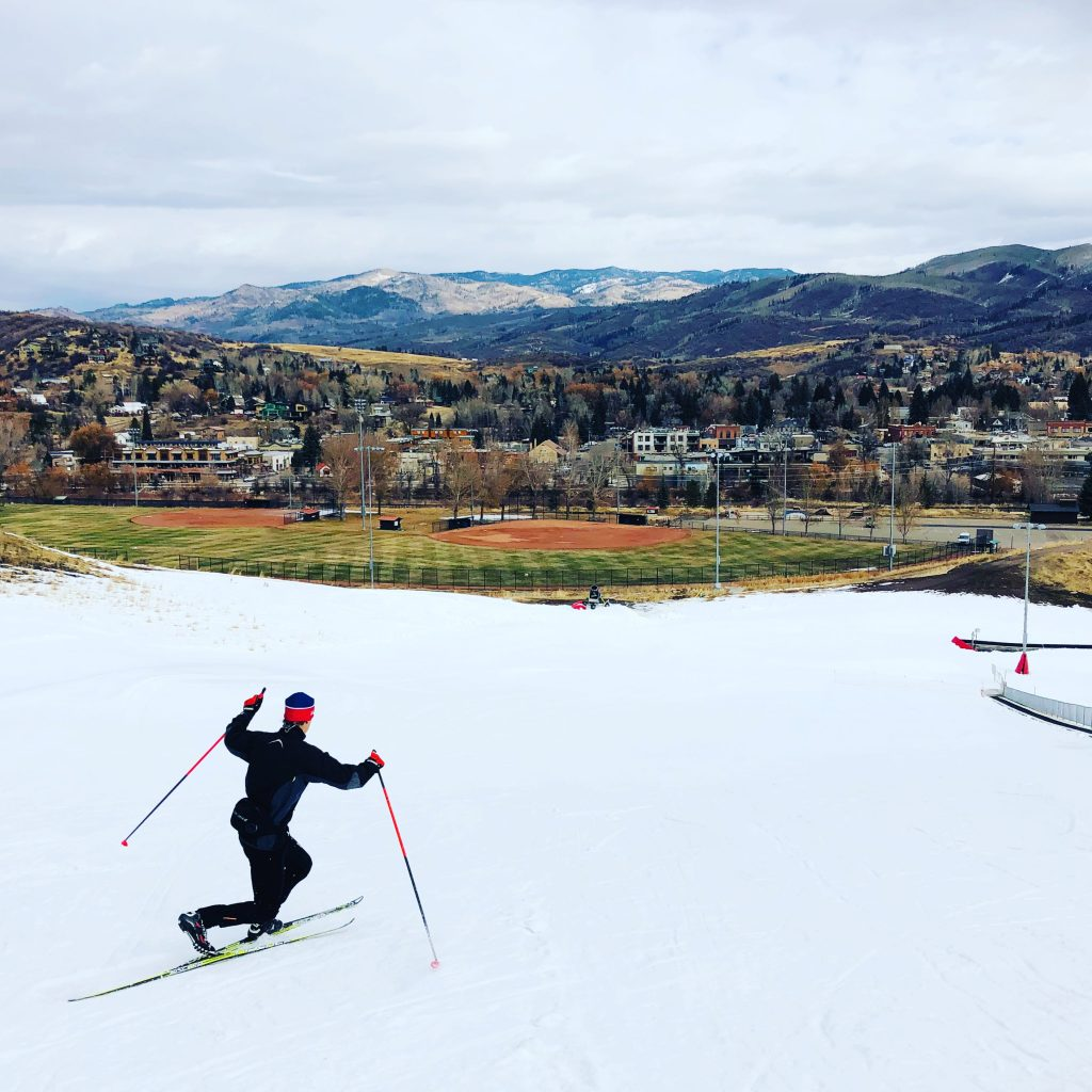 Steamboat Springs Winter Sports Club Nordic combined athlete Niklas Malacinski making some telemark turns at Howelsen Hill.