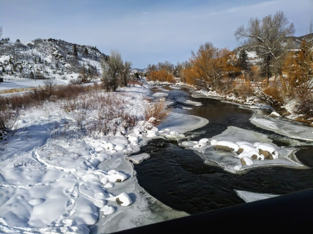 Snow and ice coat the Yampa River on Sunday, Dec. 22.