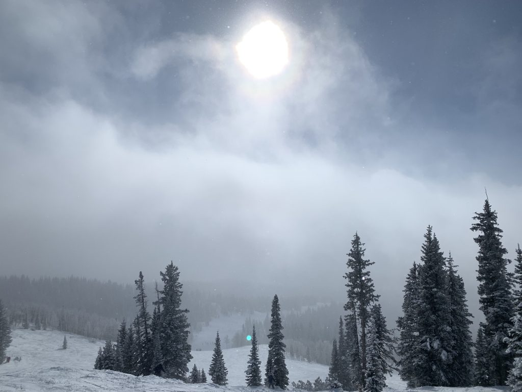 Clouds hover over Steamboat Resort on Sunday, Dec. 29 as the sun attempts to peep through.