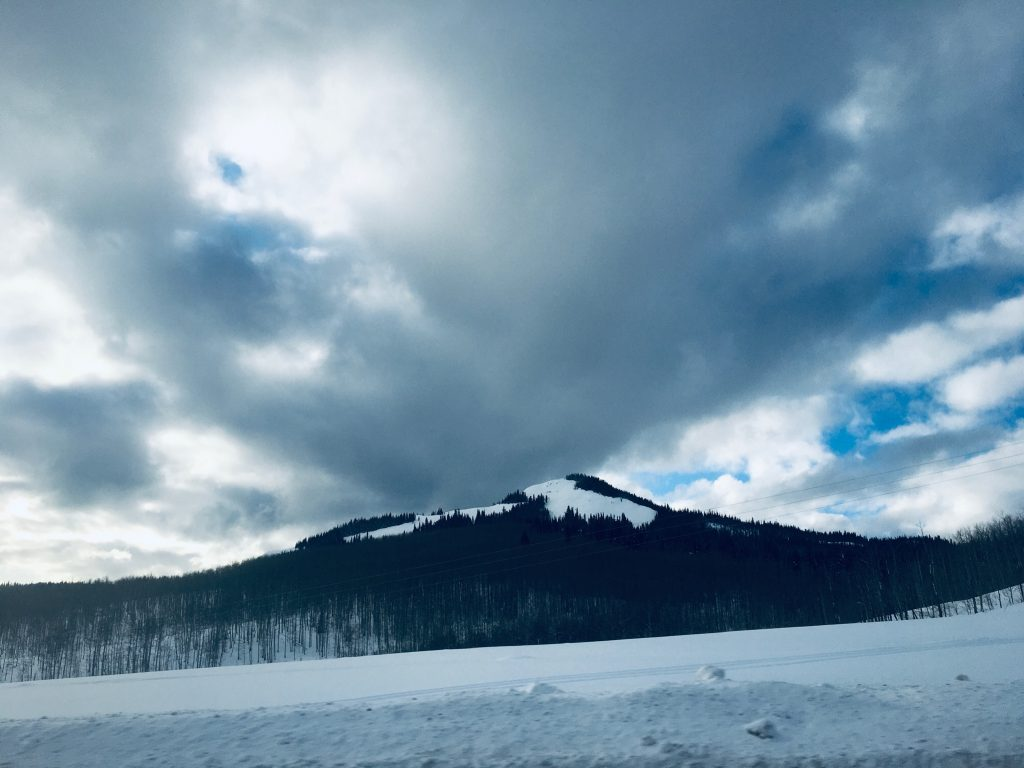 A snowy mountain near the outskirts of Steamboat Springs.