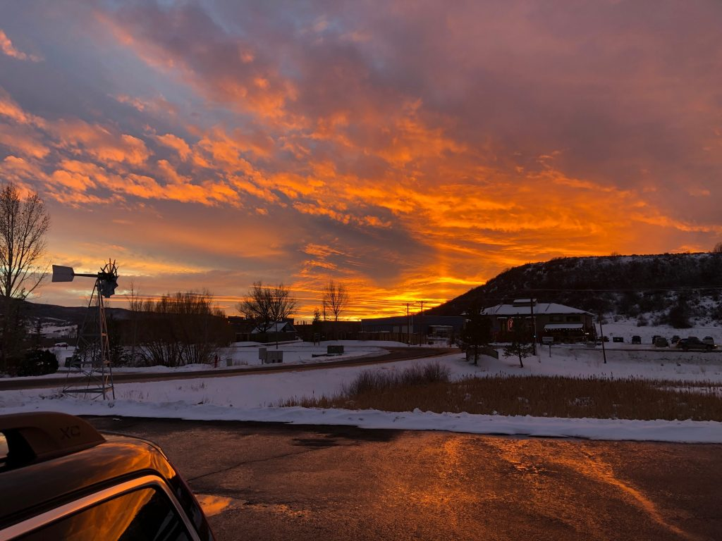 The sun sets over Routt County.