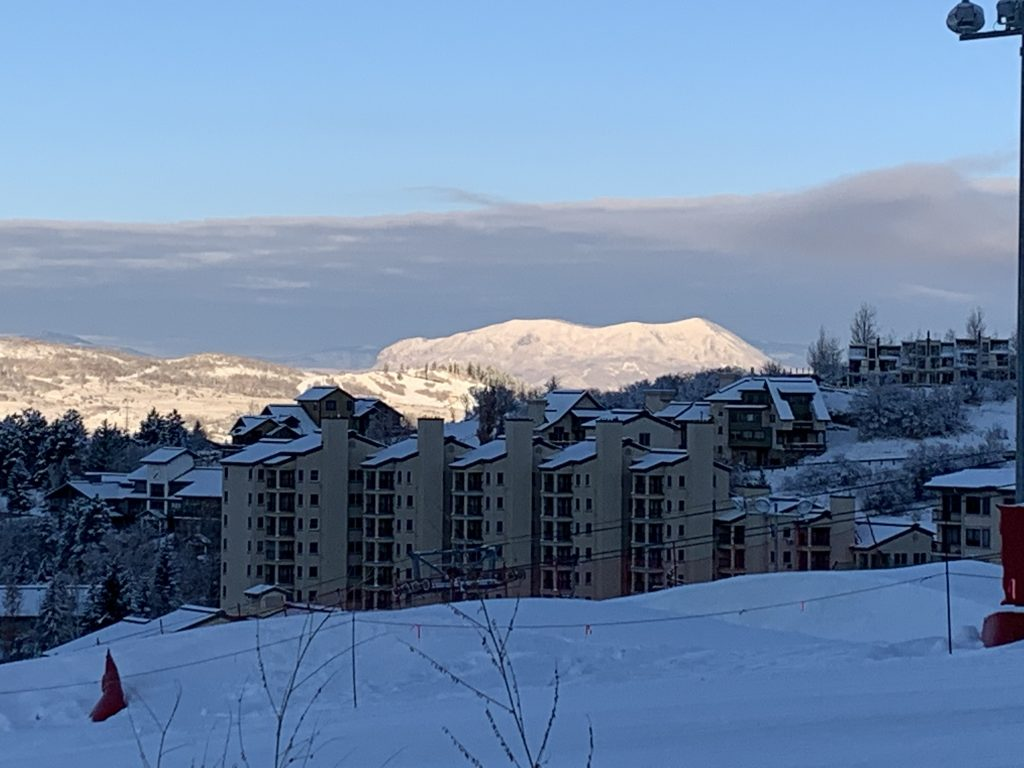 Sleeping Giant is illuminated in the distance from Steamboat Resort.