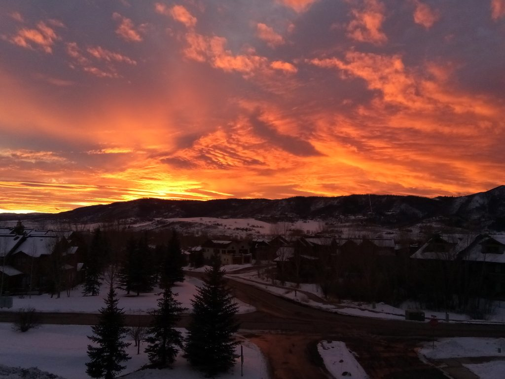 The sun sets over Steamboat Springs.
