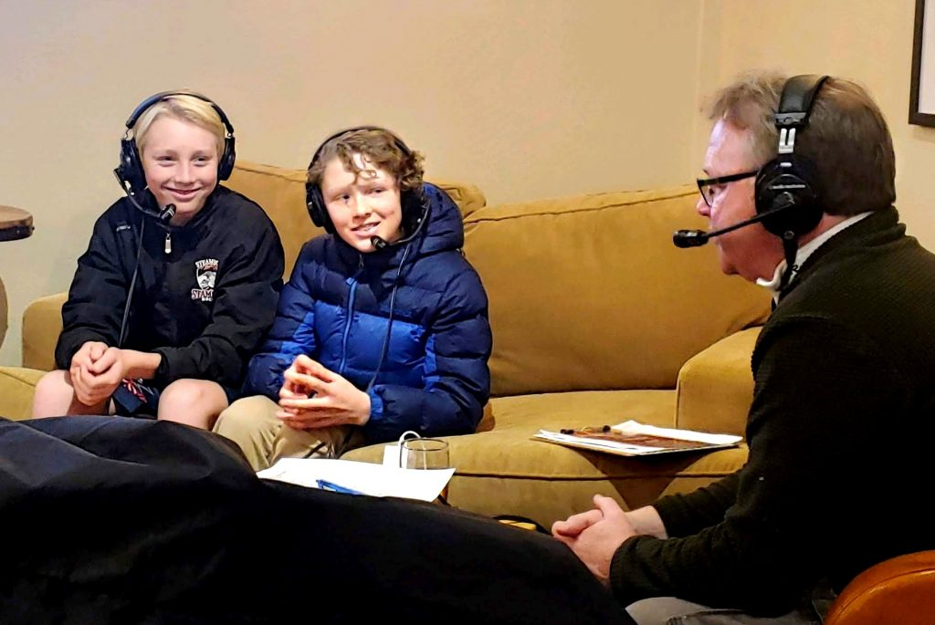 Connor Elliott and Heck Stephenson talking about Bantam Hockey with Brian Harvey, for Harvey's Huddle on Steamboat Radio.