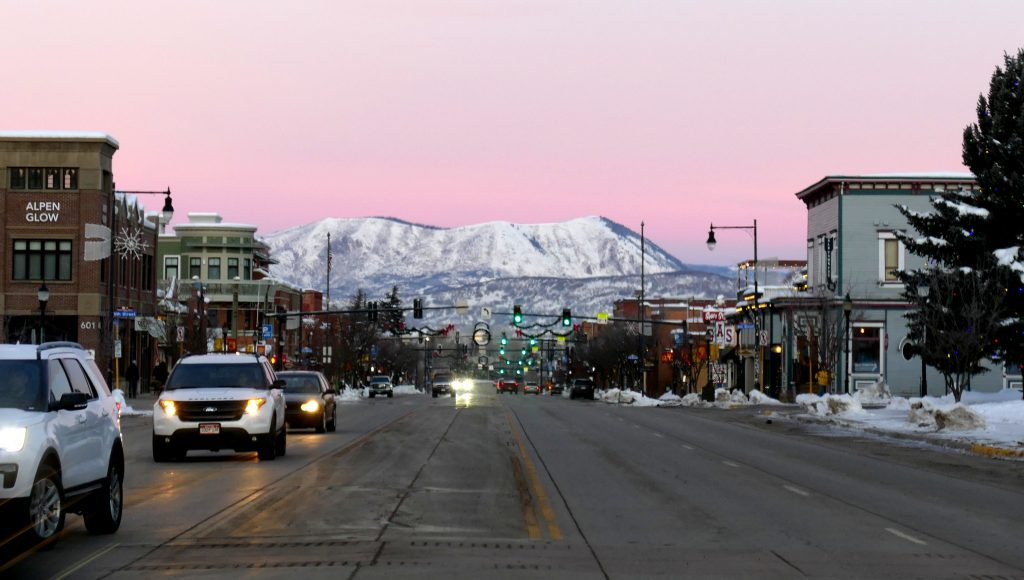 """The sun was coming up in Steamboat Springs and surrounding the """"Sleeping Giant"""" in pretty pinks and pastels this morning."""