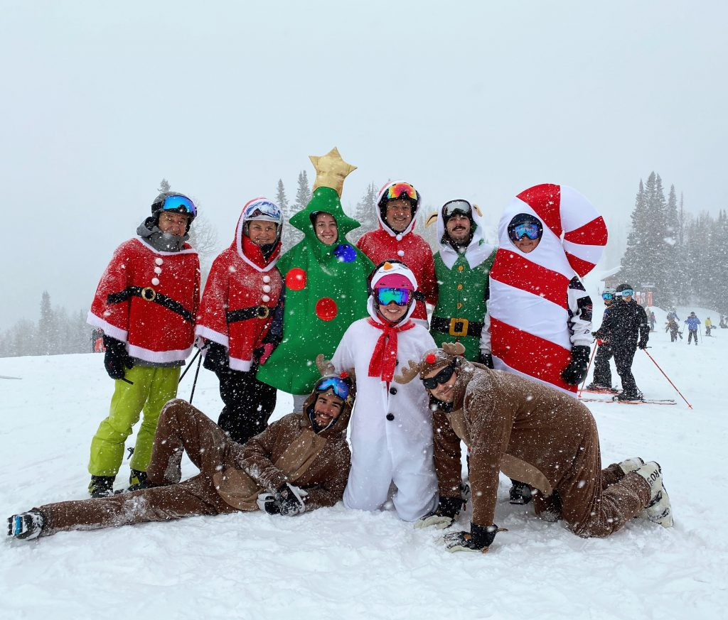 Steve, Lisa, Elise, Erin and Brad Branscum, Grant Hendricks, Garrick Otto, Bob and Robyn Schuellein continue the tradition of skiing Steamboat Resort Christmas morning all dressed up and festive.