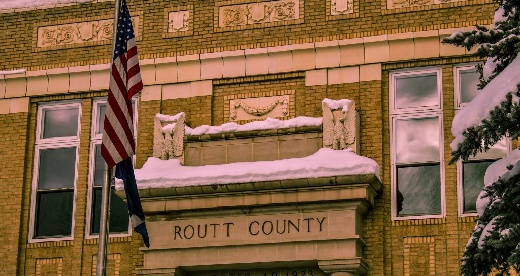 The top of the historic Routt County Courthouse is shown.