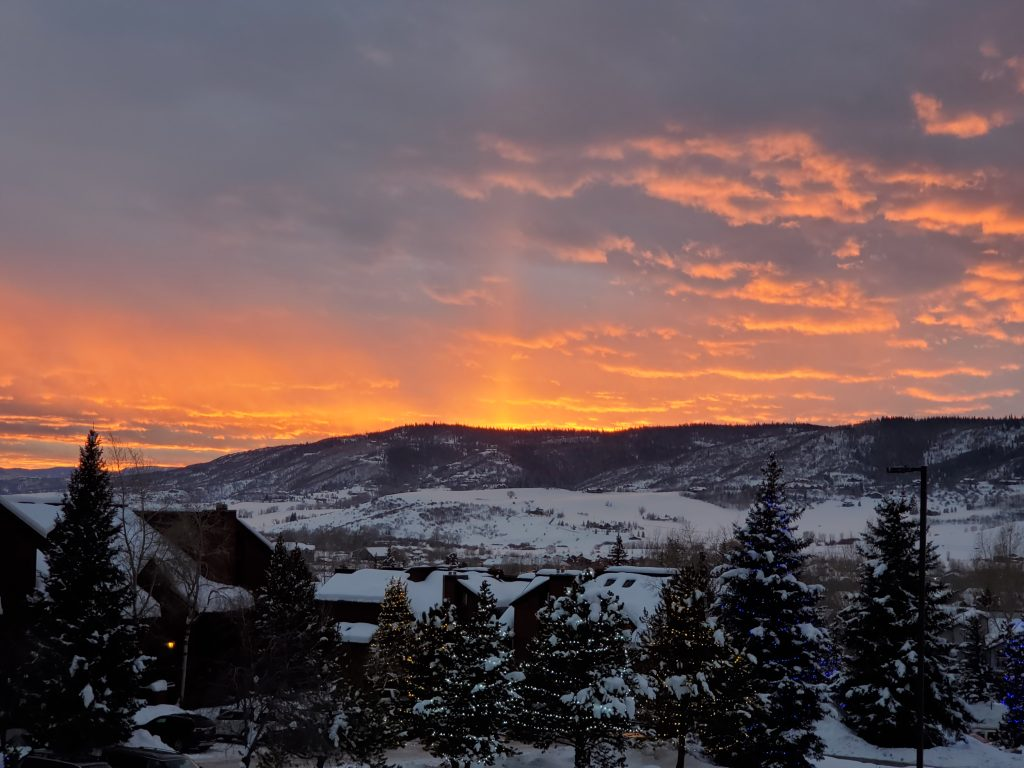 The sun rises in Steamboat Springs.