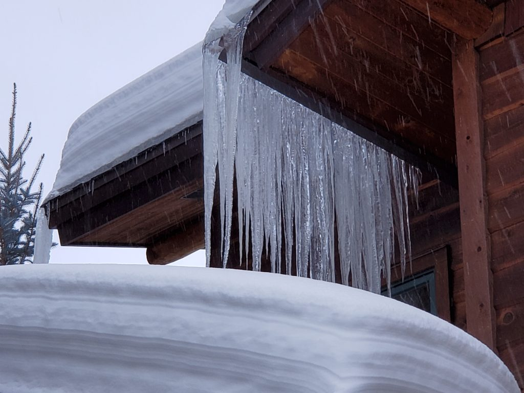 Icicles grow on the eaves of a house in Steamboat Springs.