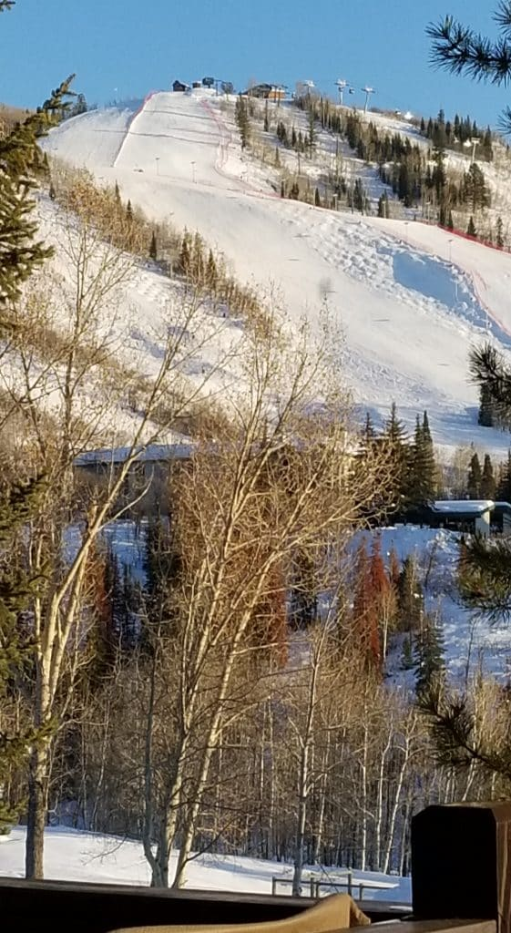 Ski runs from Steamboat Resort are seen from Ranch Road.