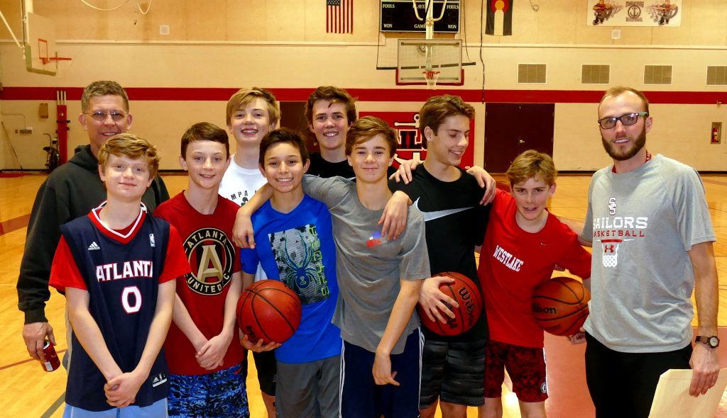 Some of the 7-8th grade boys in the High Altitude Basketball program, at practice Monday night.