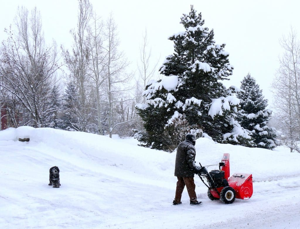 A man snowplows his driveway as his dog looks on.