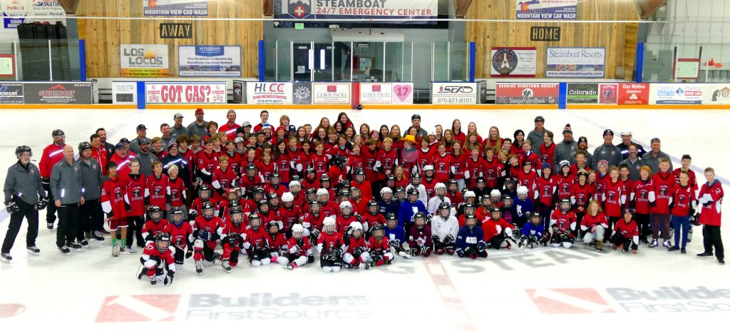 Steamboat Stampede Youth Hockey Association group picture of players and coaches, taken Monday night, at Howelsen Ice Arena.