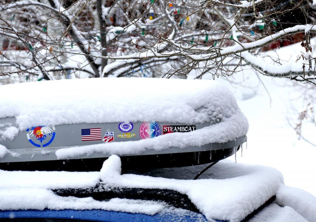 Snow covers a Subaru in Steamboat Springs on Monday, Jan. 27.