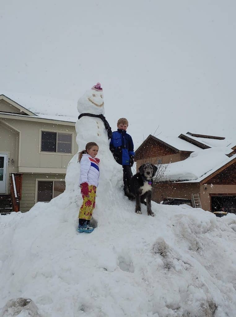 This is a photo of Lila Quigley and Owen Schmidt (his dog Bonnie) with their finished snowman in Hayden.
