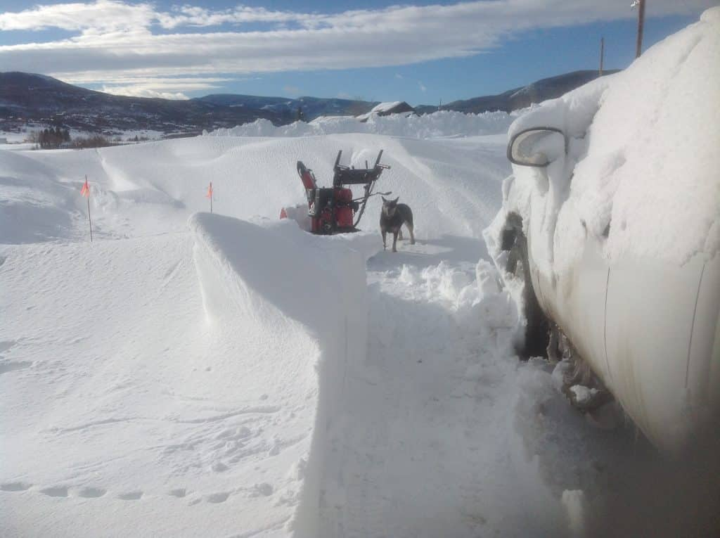 Driveway snowed in in Routt County.